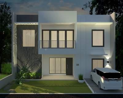 Contoh gambar desain arsitektur rumah tinggal minimalis 2 lantai